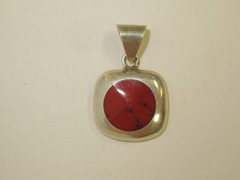 Red Stone Silver-Stone Pendant 925 Silver 12.4g