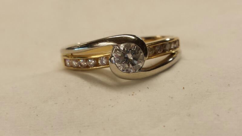 Lady's Diamond Solitaire Ring 11 Diamonds .40 Carat T.W. 14K Yellow Gold 2.3dwt