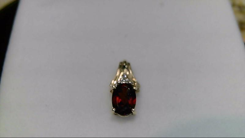 Lady's 10k yellow gold oval garnet with 1-1mm round diamond pendant