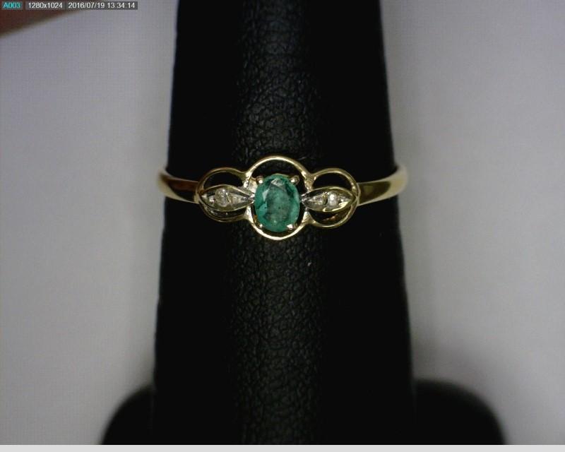 Emerald Lady's Stone & Diamond Ring 2 Diamonds .02 Carat T.W. 14K Yellow Gold