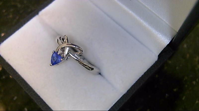Tanzanite Lady's Stone & Diamond Ring .01 CT. 14K White Gold 2.3g