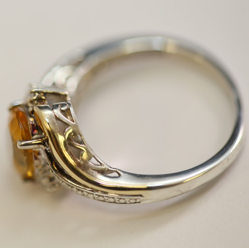 Oval Cut Citrine and Diamond Silver Ring with 10K Y/G Accents Size 5