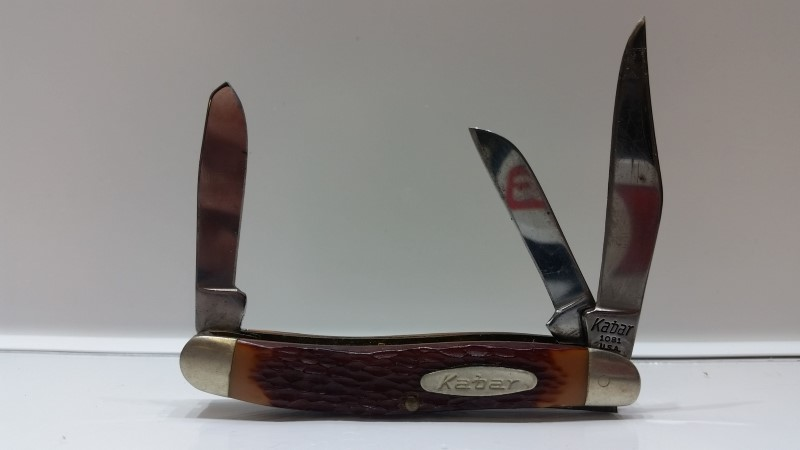 Vintage Kabar USA 3-Blade Folding Stockman Pocket Knife #1081