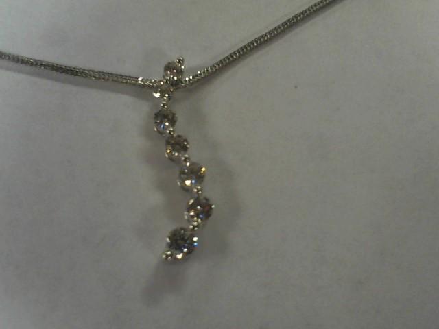 Diamond Necklace 7 Diamonds .85 Carat T.W. 14K White Gold 2.8g