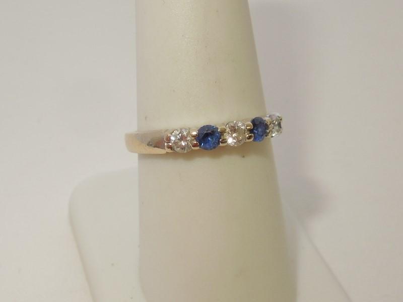Synthetic Sapphire Lady's Stone & Diamond Ring 3 Diamonds .30 Carat T.W.