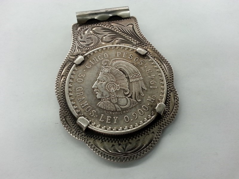 "MEXICO CINCO PESO MONEY CLIP ""CUSTOM MADE"" 925"
