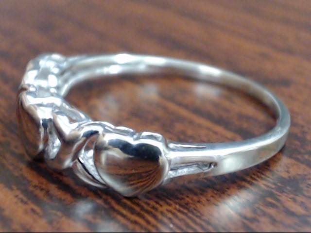 ESTATE HEART XO HUG KISS RING SOLID REAL 10K WHITE GOLD PROMISE SZ 8