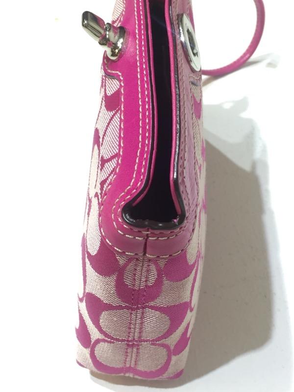 Coach Cricket Pink/Fuschia Signature Canvas Mono Logo Wristlet