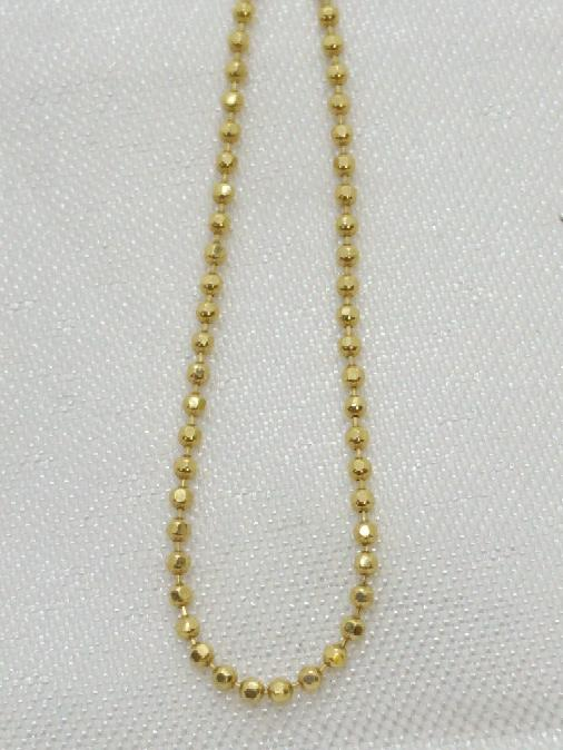 "Bead Link Chain Necklace 24"" 14k Yellow Gold"