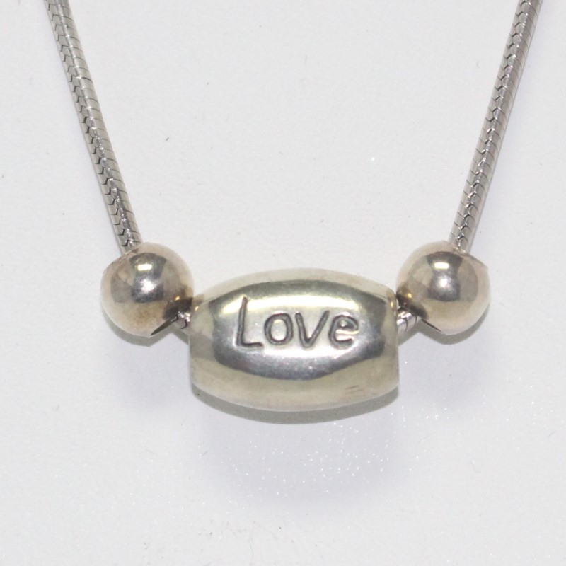"30"" STERLING SILVER FASHION NECKLACE W/LOVE ENGRAVED PENDANT, 16.55 GRAM"