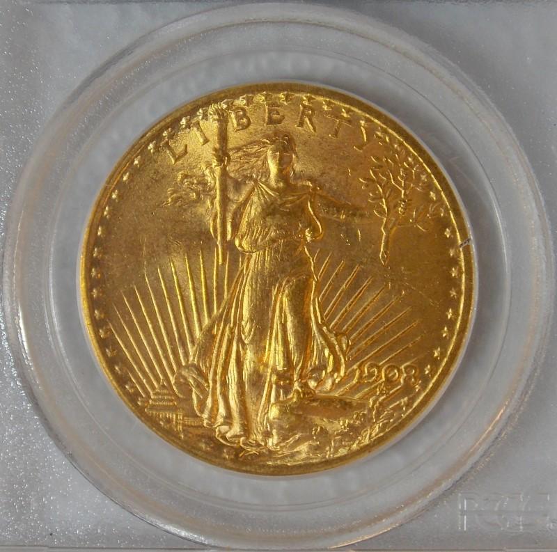 1908 GOLD SAINT-GAUDENS DOUBLE EAGLE COIN, $20, NO MOTTO, PCGS MS64