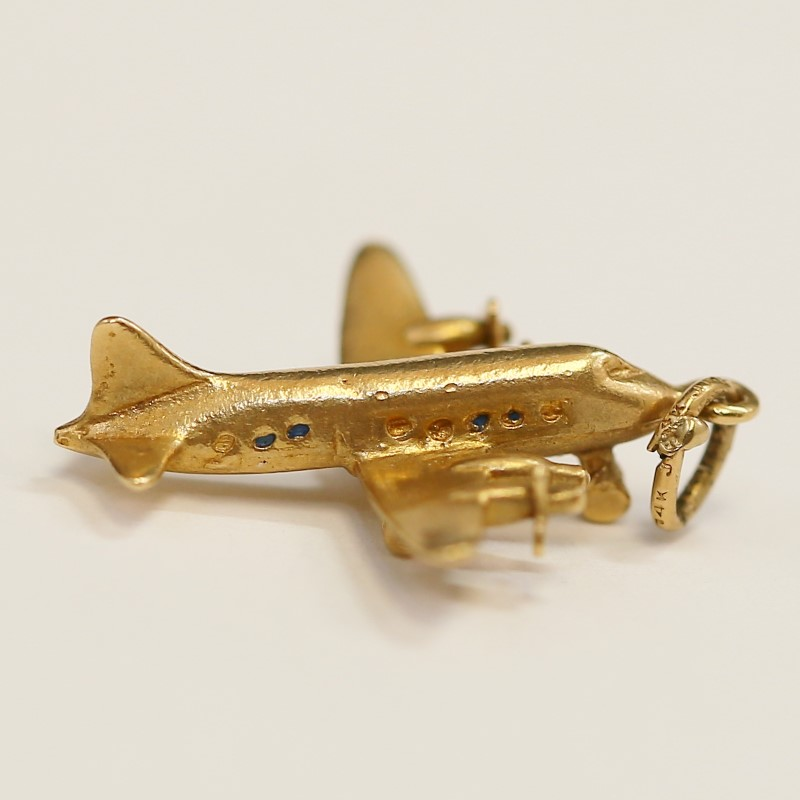 Vintage 14K Yellow Gold Airplane Charm
