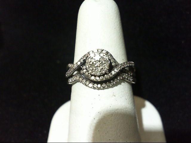 Lady's Silver-Diamond Ring 82 Diamonds .505 Carat T.W. 925 Silver 4.6g
