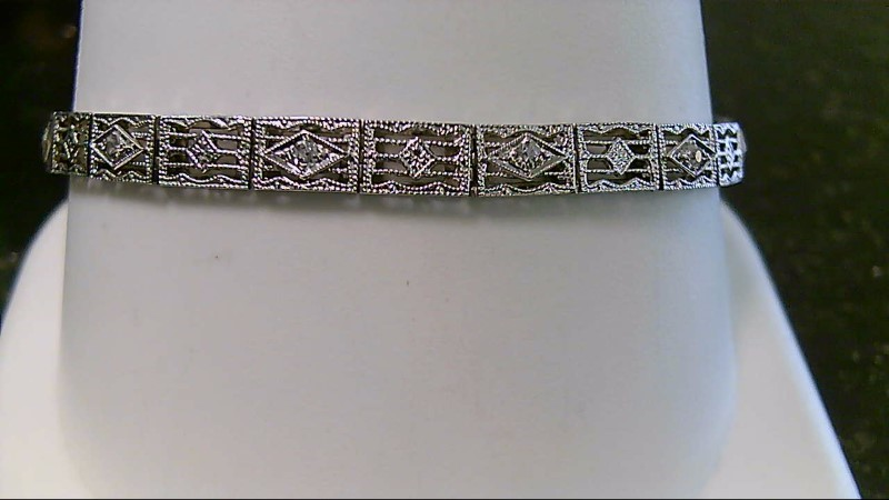 Gold-Diamond Bracelet 7 Diamonds .07 Carat T.W. 14K White Gold 7.2g