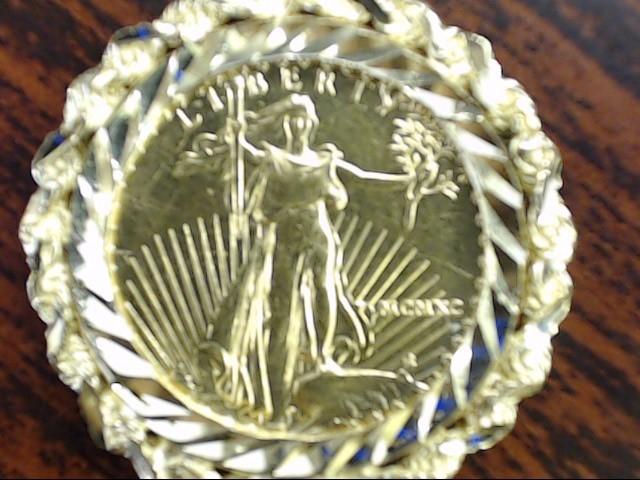 .999 1/10 OZ FINE GOLD 5 DOLLAR LIBERTY COIN SOLID 14K PENDANT