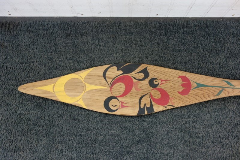 "45"" HAND CARVED AND PAINTED CEDAR PACIFIC NORTHWEST NATIVE PADDLE"