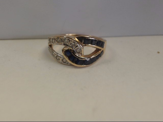 Sapphire Lady's Stone & Diamond Ring 10 Diamonds .20 Carat T.W. 14K Yellow Gold