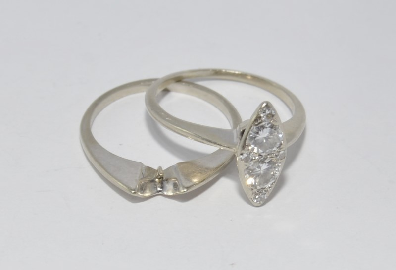 14K White Gold Marquise Shaped Cluster Diamond Engagement Wedding Ring Set