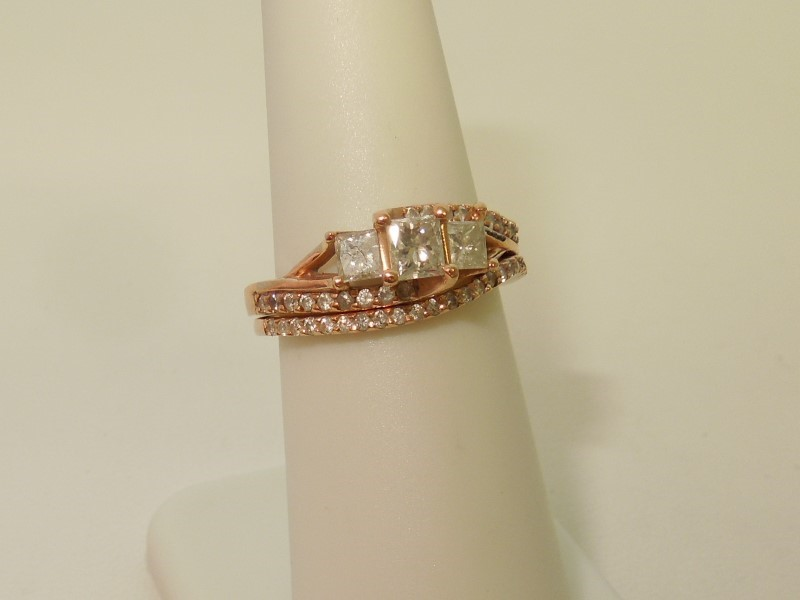 Lady's Diamond Wedding Set 41 Diamonds 1.13 Carat T.W. 14K Rose Gold 4.8g