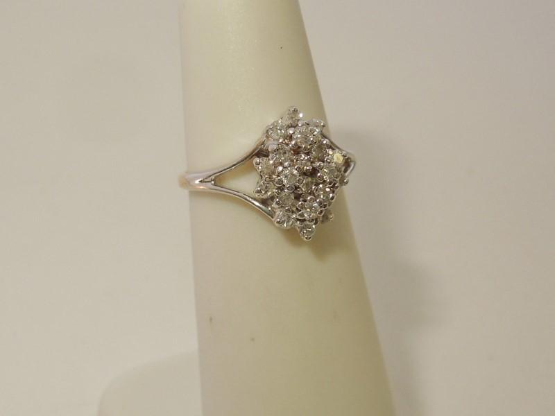 Lady's Diamond Cluster Ring 20 Diamonds .20 Carat T.W. 14K White Gold 2.6g