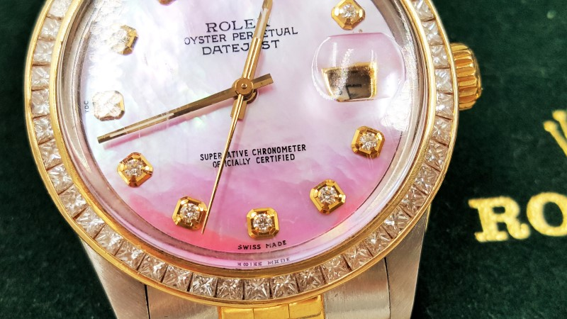 Rolex Oyster Perpetual Datejust Pink Dial 18K & Stainless Steel Band