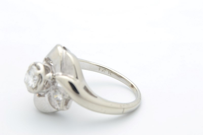 ESTATE 3 DIAMOND RING SOLID 14K WHITE GOLD ENGAGEMENT DECO SIZE 4.5