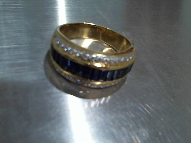 Synthetic Sapphire Lady's Stone & Diamond Ring 34 Diamonds .34 Carat T.W.