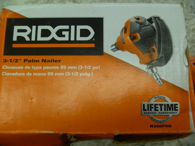 RIDGID R350PNE 3-1/2-INCH PALM NAILER WITH INSTRUCTIONS AND BOX