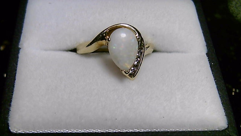October Birthstone Opal Lady's Stone & Diamond 10K Yellow Gold Ring