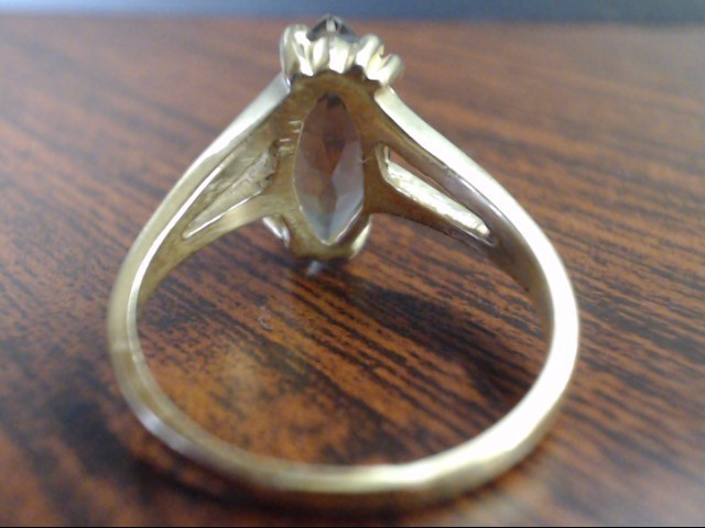 VINTAGE ESTATE MARQUISE SMOKEY TOPAZ RING REAL SOLID 10K GOLD SZ 8.5