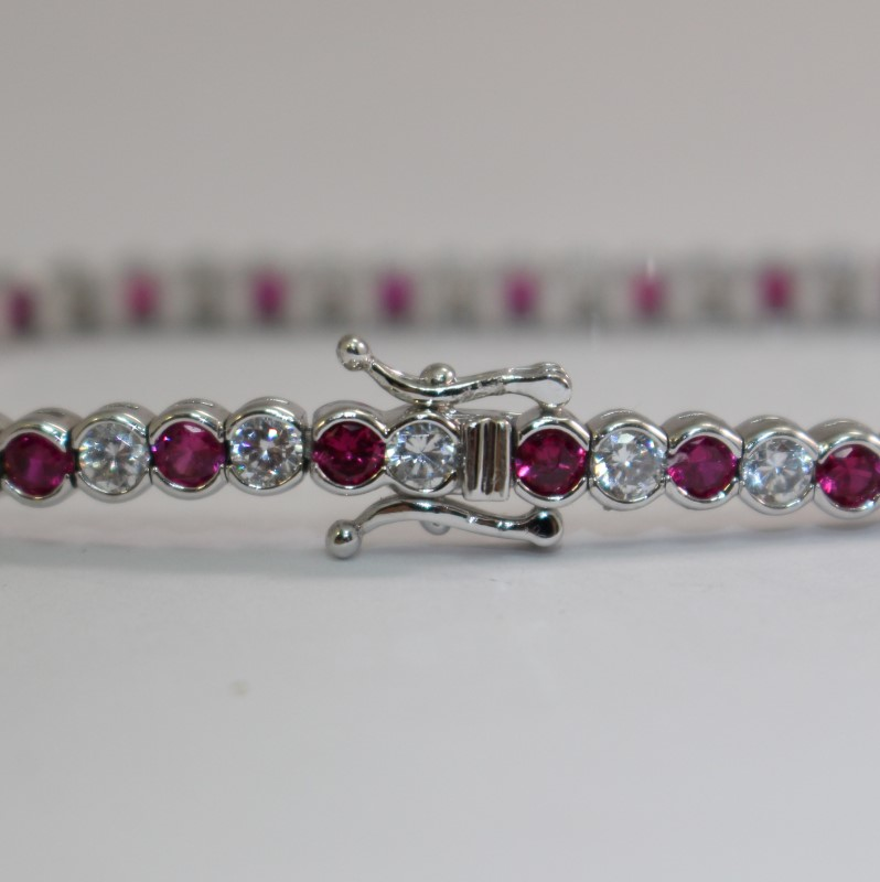 "7"" Round Cut White & Pink Stone Sterling Silver Bracelet"