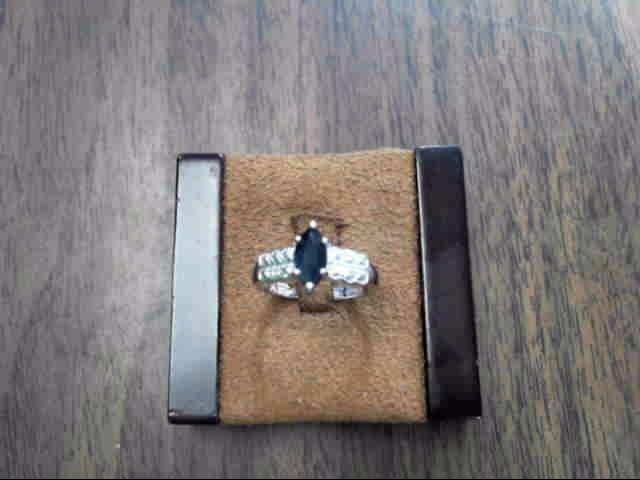 Blue Stone Lady's Silver-Diamond & Stone Ring 2 Diamonds .010 Carat T.W.