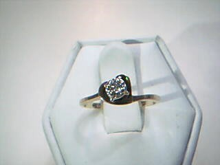Lady's Diamond Solitaire Ring .10 CT. 10K Yellow Gold 1.6g Size:4.8