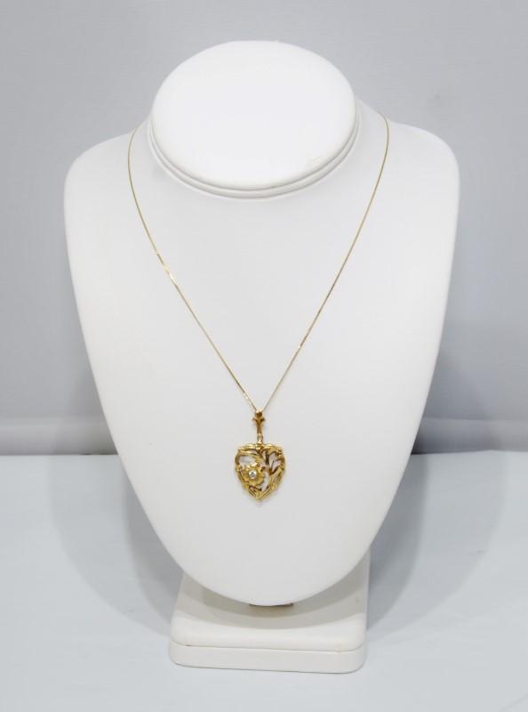 "18"" 14K Yellow Gold Heart Shaped Dia Cut Full Bezel Set Diamond Flower Necklace"