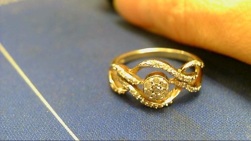 Lady's Silver-Diamond Ring 35 Diamonds .49 Carat T.W. 925 Silver 2.6g