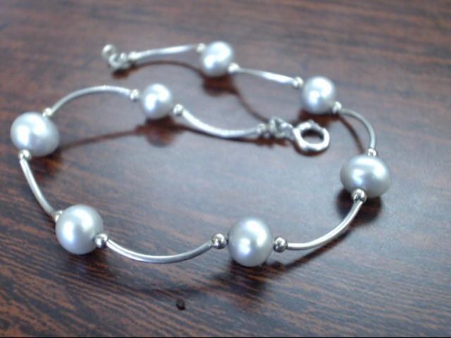 Synthetic Pearl Gold-Stone Bracelet 14K White Gold 2.7g
