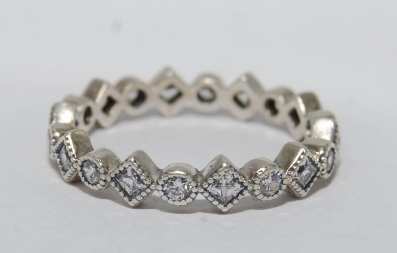Authentic Pandora 925 ALE Alluring Brilliant Princess Clear CZ Ring s 8 190943CZ