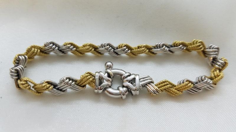 "Two-Tone Zig Zag Bracelet 18K Gold 7.5"" 13.6g"