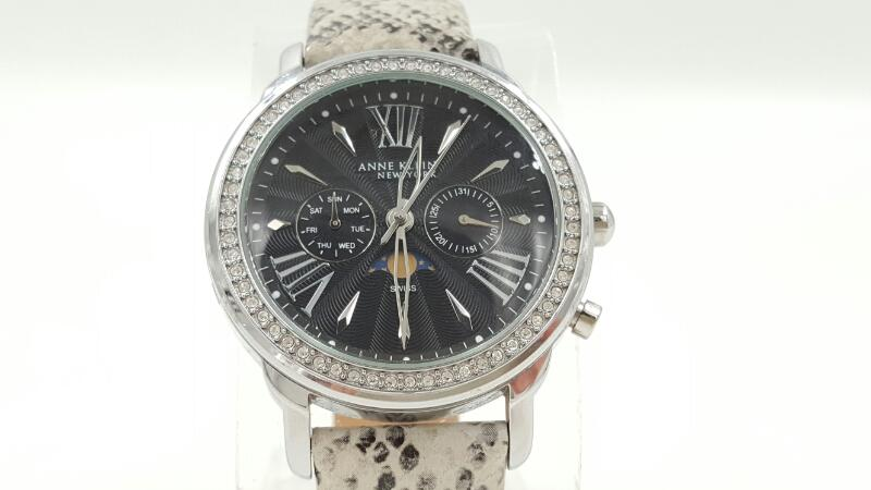 Anne Klein New York Day & Night Wheel Leather & Stainless Steel