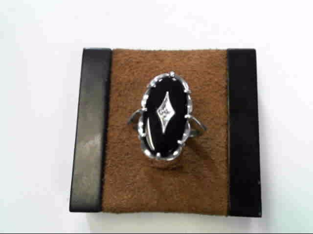 Black Stone Lady's Silver & Stone Ring 925 Silver 3.4dwt