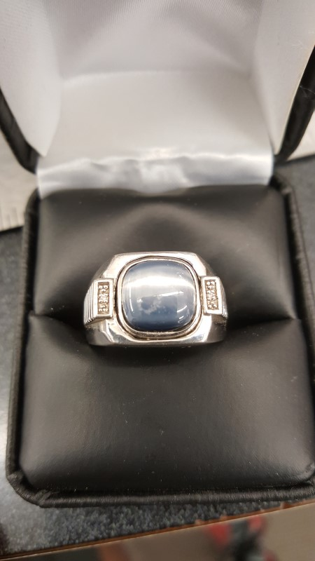 Blue Stone Gent's Silver-Diamond & Stone Ring 2 Diamonds .02 Carat T.W.