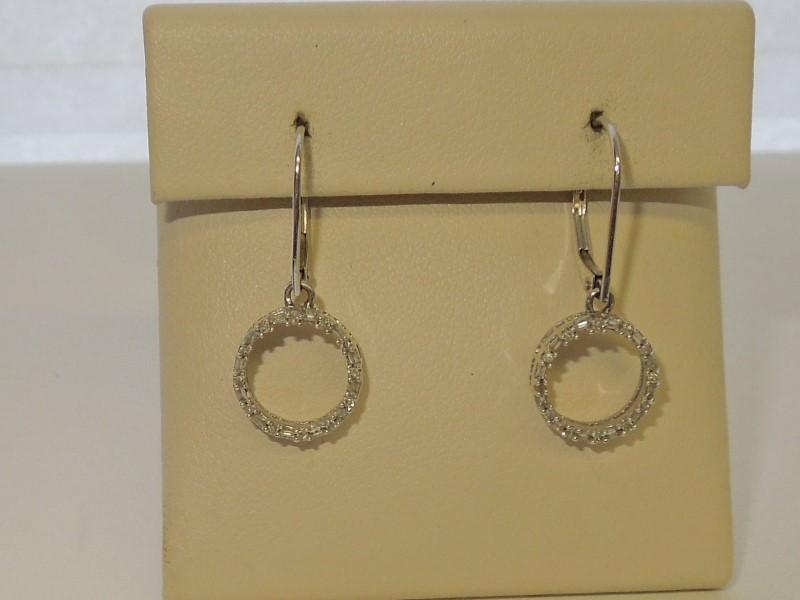 Gold-Diamond Earrings 48 Diamonds .240 Carat T.W. 10K White Gold 2.1g