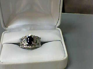 Sapphire Lady's Stone & Diamond Ring 36 Diamonds .210 Carat T.W. 14K White Gold