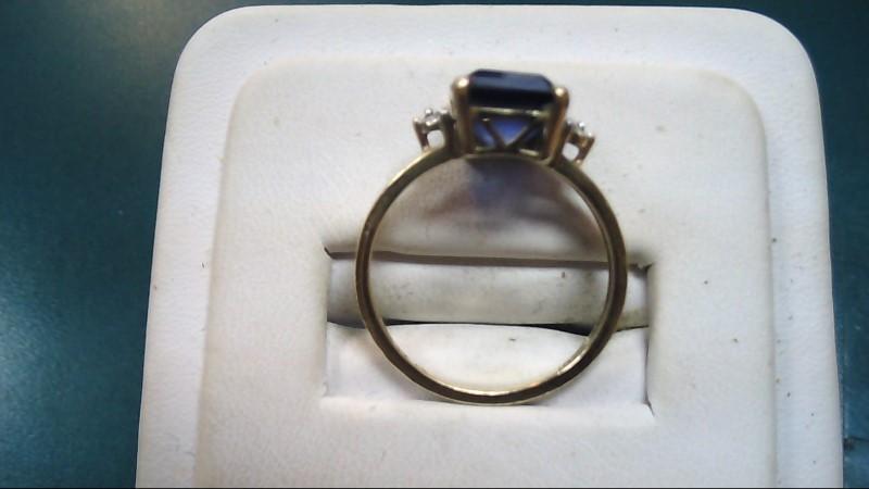 Blue Stone Lady's Stone Ring 10K Yellow Gold 2.5g Size:7.5