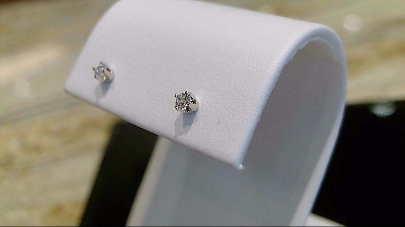 14k white gold appx. .10cttw round diamond stud earrings