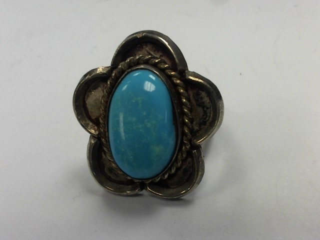 Turquoise Gent's Silver & Stone Ring 925 Silver 8.6g