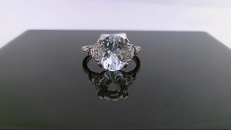 Aquamarine Lady's Stone & Diamond Ring 4 Diamonds .08 Carat T.W. 14K White Gold