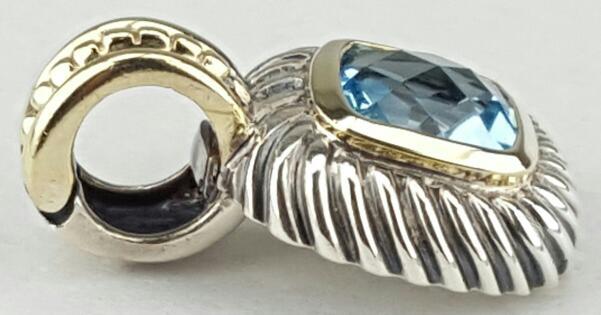 David Yurman Blue Topaz Albion Enhancer Silver & 14k 5.2g