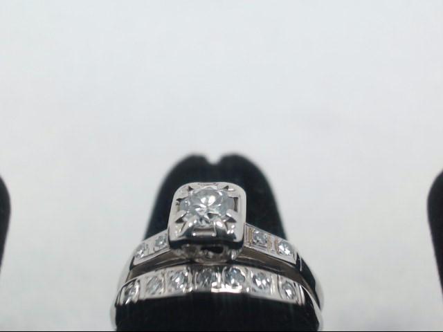 Lady's Diamond Wedding Set 12 Diamonds .48 Carat T.W. 14K White Gold 3g