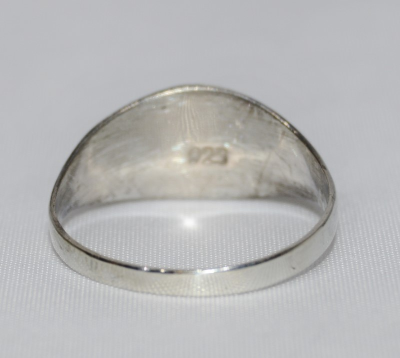 Sterling Silver Vintage Inspired Diamond Cut Etched Dome Ring Size:8